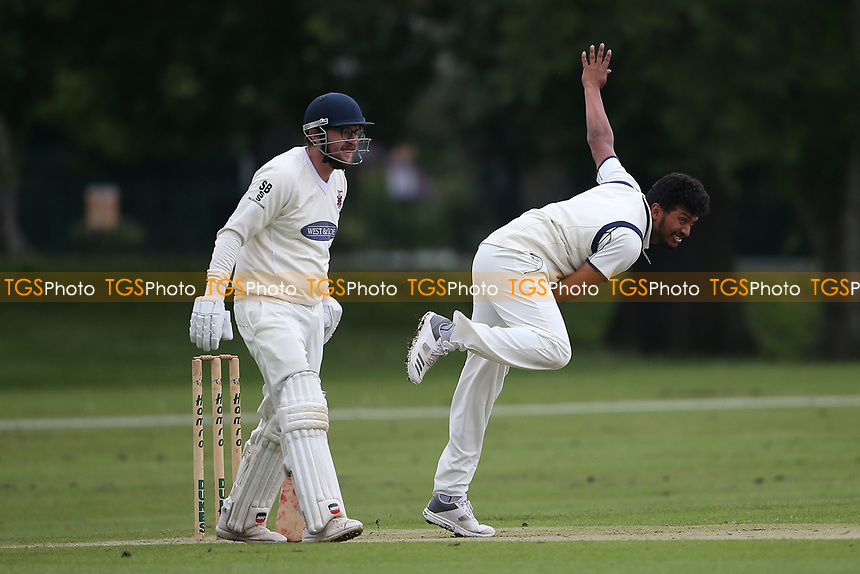 K Velani in bowling action for Wanstead during Hornchurch CC vs Wanstead and Snaresbrook CC, Hamro Foundation Essex League Cricket at Harrow Lodge Park on 10th July 2021