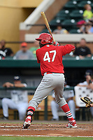 Palm Beach Cardinals outfielder Ronald Castillo (47) at bat during a game against the Lakeland Flying Tigers on April 13, 2015 at Joker Marchant Stadium in Lakeland, Florida.  Palm Beach defeated Lakeland 4-0.  (Mike Janes/Four Seam Images)