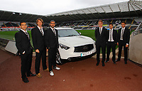 Pictured: Itay Shachter, Michu, Chico Flores, Alan Tate, Pablo Hernandez and Angel Rangel<br /> Re: Swansea City FC squad photo-shoot at the Liberty Stadium, south Wales.