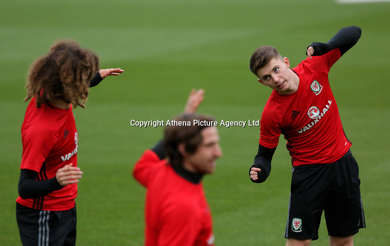 (L-R) Ethan Ampadu, Joe Allen and Ben Woodburn in action during the Wales Training Session at The Vale Resort, Wales, UK. 06 November 2017