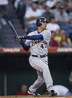 Carlos Pena of the Detroit Tigers bats during a 2002 MLB season game against the Los Angeles Angels at Angel Stadium, in Anaheim, California. (Larry Goren/Four Seam Images)