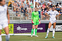 CARY, NC - SEPTEMBER 12: Bella Bixby #31 of the Portland Thorns awaits a corner kick during a game between Portland Thorns FC and North Carolina Courage at Sahlen's Stadium at WakeMed Soccer Park on September 12, 2021 in Cary, North Carolina.