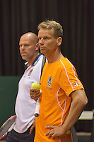 09-09-13,Netherlands, Groningen,  Martini Plaza, Tennis, DavisCup Netherlands-Austria, DavisCup,   Training, on the background  Raymond Knaap (coach) Captain Jan Siemerink (NED) foreground<br /> Photo: Henk Koster