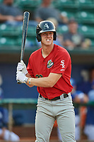 Logan Sowers (29) of the Great Falls Voyagers bats against the Ogden Raptors at Lindquist Field on August 22, 2018 in Ogden, Utah. Great Falls defeated Ogden 3-1. (Stephen Smith/Four Seam Images)