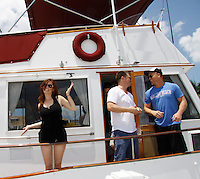 Melissa Archer, Jeff Branson, Sean Carrigan -  Actors from Y&R, Days and General Hospital donated their time to Southwest Florida 16th Annual SOAPFEST and during the weekend took a break to chill on one of the boats to see dolphins and to swim off Marco Island, Florida on May 23, 2015 - a celebrity weekend May 22 thru May 25, 2015 benefitting the Arts for Kids and children with special needs and ITC - Island Theatre Co.  (Photos by Sue Coflin/Max Photos)