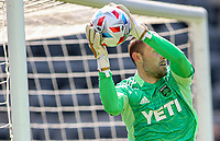 LOS ANGELES, CA - APRIL 17: Brad Stuver #41 of Austin FC saves a ball during a game between Austin FC and Los Angeles FC at Banc of California Stadium on April 17, 2021 in Los Angeles, California.