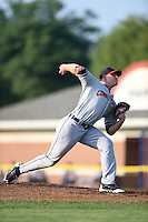 Connecticut Tigers pitcher Josh Heddinger (48) delivers a pitch during a game against the Batavia Muckdogs on July 21, 2014 at Dwyer Stadium in Batavia, New York.  Connecticut defeated Batavia 12-3.  (Mike Janes/Four Seam Images)