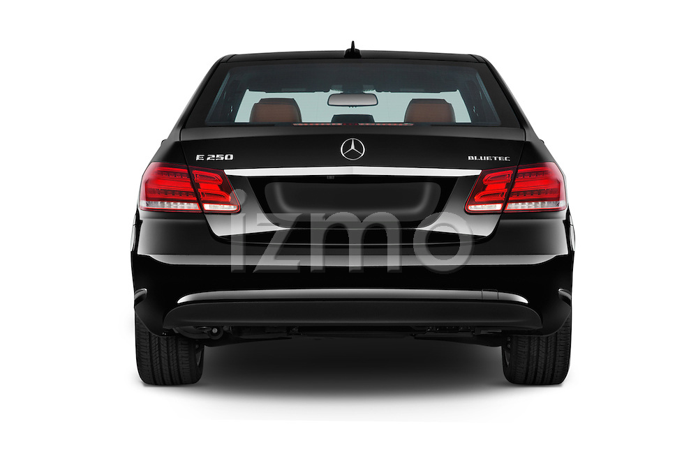Straight rear view of a 2015 Mercedes Benz E-Class E250 BlueTEC Luxury 4 Door Sedan stock images