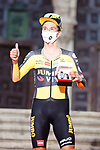 Defending Champion Primoz Roglic (SLO) Jumbo-Visma wins Stage 1 of La Vuelta d'Espana 2021, a 7.1km individual time trial around Burgos, Spain. 14th August 2021.    <br /> Picture: Luis Angel Gomez/Photogomezsport | Cyclefile<br /> <br /> All photos usage must carry mandatory copyright credit (© Cyclefile | Luis Angel Gomez/Photogomezsport)