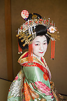 Kyoto, Japan 2016. Japan, Kyoto. A Japanese Tayu, the highest rank of courtesan. Well versed in reading, tea ceremony, music & dance. More elaborate than a Geisha, fewer than five Tayu, exist today.