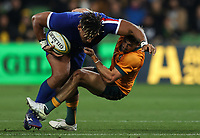 13th July 2021; AAMI Park, Melbourne, Victoria, Australia; International test rugby, Australia versus France; Damian Penaud of France runs through a tackle with the ball