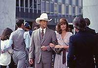 "Larry Hagman and Linda Gray as J.R. and Sue Ellen Ewing, ""Dallas,"" 1980. Photo by John G. Zimmerman."