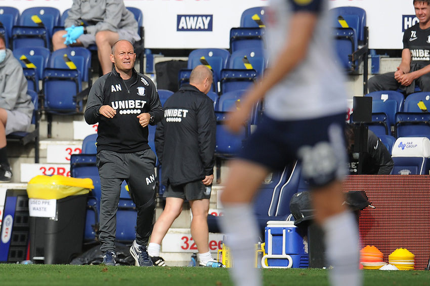 Preston North End manager Alex Neil shouts instructions to his team from the dug-out<br /> <br /> Photographer Kevin Barnes/CameraSport<br /> <br /> The EFL Sky Bet Championship - Preston North End v Swansea City - Saturday September 12th 2020 - Deepdale - Preston<br /> <br /> World Copyright © 2020 CameraSport. All rights reserved. 43 Linden Ave. Countesthorpe. Leicester. England. LE8 5PG - Tel: +44 (0) 116 277 4147 - admin@camerasport.com - www.camerasport.com