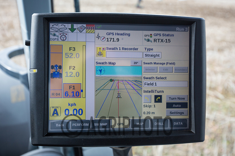 GPS screen in a New Holland tractor showing intelligent turning <br /> Picture Tim Scrivener 07850 303986<br /> ….covering agriculture in the UK….