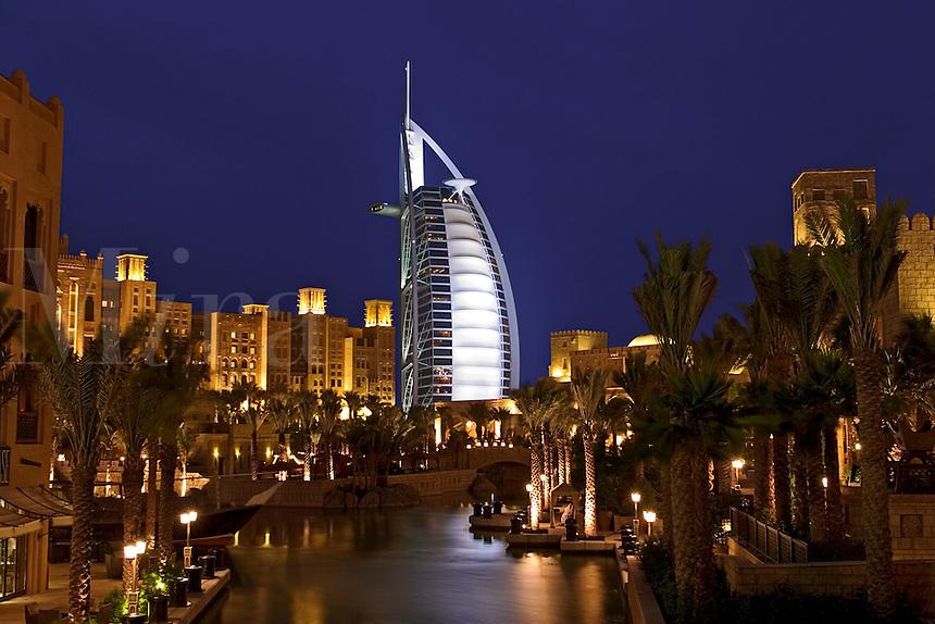 .Dubai, United Arab Emirates. Madinat Jumeirah. Burj al Arab Hotel, .Mina A'Salam Hotel and Convention Centre. Souk. Evening..