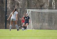 LOUISVILLE, KY - MARCH 13: Kaleigh Riehl #18 of Racing Louisville FC passes the ball during a game between West Virginia University and Racing Louisville FC at Thurman Hutchins Park on March 13, 2021 in Louisville, Kentucky.