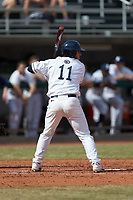 Ryan Sloniger (11) of the Penn State Nittany Lions at bat against the Xavier Musketeers at Coleman Field at the USA Baseball National Training Center on February 25, 2017 in Cary, North Carolina. The Musketeers defeated the Nittany Lions 10-4 in game one of a double header. (Brian Westerholt/Four Seam Images)