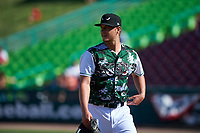 Lake Elsinore Storm relief pitcher Evan Miller (15) walks off the mound between innings of a California League game against the Inland Empire 66ers on April 14, 2019 at The Diamond in Lake Elsinore, California. Lake Elsinore defeated Inland Empire 5-3. (Zachary Lucy/Four Seam Images)