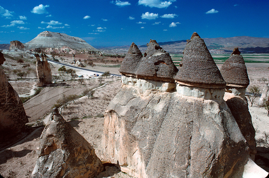 "Weirdly-shaped erosion pinnacles in ""tuf"" - soft volcanic rock - Cappadocia, Turkey."