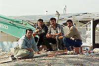Nach dem Erdbeben im August in der Tuerkei leben tausende Menschen in Zeltlagern und Behilfszelten. Etliche Gebaeude muessen abgerissen werden, da die Statik nicht mehr haelt.<br /> Hier: Arbeiter in der Ortschaft Kara Muersel beim Rueckbau einer Fabrikhalle.<br /> 13.10.1999, Kara Muersel/Tuerkei<br /> Copyright: Christian-Ditsch.de<br /> [Inhaltsveraendernde Manipulation des Fotos nur nach ausdruecklicher Genehmigung des Fotografen. Vereinbarungen ueber Abtretung von Persoenlichkeitsrechten/Model Release der abgebildeten Person/Personen liegen nicht vor. NO MODEL RELEASE! Nur fuer Redaktionelle Zwecke. Don't publish without copyright Christian-Ditsch.de, Veroeffentlichung nur mit Fotografennennung, sowie gegen Honorar, MwSt. und Beleg. Konto: I N G - D i B a, IBAN DE58500105175400192269, BIC INGDDEFFXXX, Kontakt: post@christian-ditsch.de<br /> Bei der Bearbeitung der Dateiinformationen darf die Urheberkennzeichnung in den EXIF- und  IPTC-Daten nicht entfernt werden, diese sind in digitalen Medien nach §95c UrhG rechtlich geschützt. Der Urhebervermerk wird gemaess §13 UrhG verlangt.]