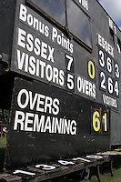 A section of the scoreboard at Castle Park - Essex CCC vs Gloucestershire CCC - LV County Championship Division Two Cricket at Castle Park, Colchester - 19/08/11 - MANDATORY CREDIT: Gavin Ellis/TGSPHOTO - Self billing applies where appropriate - Tel: 0845 094 6026
