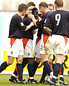 02/04/2005         Copyright Pic : James Stewart.File Name : jspa10_falkirk_v_st_johnstone.RUSSELL LATAPY IS CONGRATULATED AFTER HE SCORES FOR FALKIRK.....Payments to :.James Stewart Photo Agency 19 Carronlea Drive, Falkirk. FK2 8DN      Vat Reg No. 607 6932 25.Office     : +44 (0)1324 570906     .Mobile   : +44 (0)7721 416997.Fax         : +44 (0)1324 570906.E-mail  :  jim@jspa.co.uk.If you require further information then contact Jim Stewart on any of the numbers above.........A