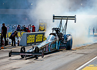 Jun 2, 2018; Joliet, IL, USA; NHRA top fuel driver Scott Palmer during qualifying for the Route 66 Nationals at Route 66 Raceway. Mandatory Credit: Mark J. Rebilas-USA TODAY Sports
