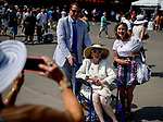 SARATOGA SPRINGS, NY - AUGUST 25: A group poses for a photo on Travers Stakes Day at Saratoga Race Course on August 25, 2018 in Saratoga Springs, New York. (Photo by Scott Serio/Eclipse Sportswire/Getty Images)
