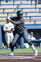 Michigan State outfielder Zaid Walker (3) at bat against the Michigan Wolverines on March 21, 2021 in NCAA baseball action at Ray Fisher Stadium in Ann Arbor, Michigan. Michigan scored 8 runs in the bottom of the ninth inning to defeat the Spartans 8-7. (Andrew Woolley/Four Seam Images)