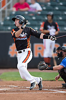 Mason McCoy (6) of the Aberdeen IronBirds follows through on his swing against the Hudson Valley Renegades at Leidos Field at Ripken Stadium on July 27, 2017 in Aberdeen, Maryland.  The Renegades defeated the IronBirds 2-0 in game one of a double-header.  (Brian Westerholt/Four Seam Images)