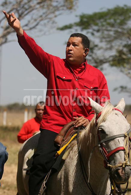 President of Venezuela Hugo Chavez broadcast his TV weeklu program Alo President from a cooperative farm for milk production in southern Venezuela. To boost agriculture and production of dairy products is one of the goals of Chavez since Venezuela imports most of the food they consume.