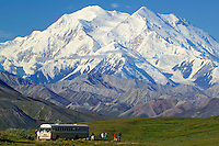 Tour buses and Mt. McKinley from Stony Dome lookout, Denali National Park, Alaska