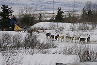Hans Gatt on the trail shorlty after leaving Unalakleet,  2005 Iditarod Trail Sled Dog Race.