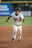 Visalia Rawhide catcher Daulton Varsho (9) hustles to third base during a California League game against the Stockton Ports at Visalia Recreation Ballpark on May 8, 2018 in Visalia, California. Stockton defeated Visalia 6-2. (Zachary Lucy/Four Seam Images)