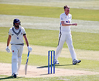 Yorkshire's Steven Patterson is all smiles after taking the wicket of Jack Leaning (L) during Kent CCC vs Yorkshire CCC, LV Insurance County Championship Group 3 Cricket at The Spitfire Ground on 16th April 2021