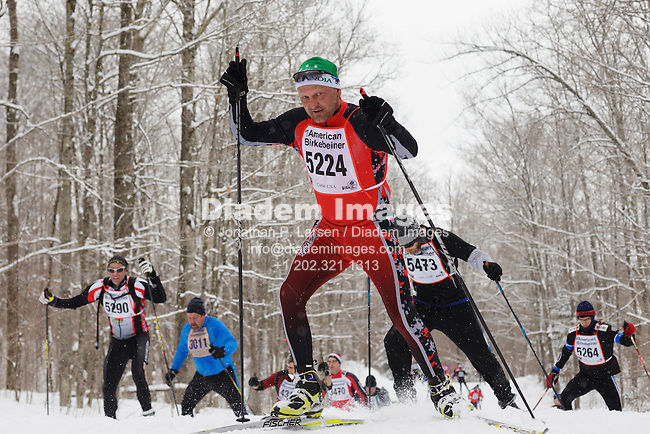 NORTHERN WISCONSIN - FEBRUARY 23:  Skate technique skiers on the trail between Cable and Hayward, Wisconsin race in the American Birkebeiner on February 23, 2013.  Editorial use only.  Commercial use prohibited.  (Photograph by Jonathan Paul Larsen)