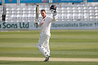 Tom Westley raises his bat after reaching his century for Essex during Essex CCC vs Worcestershire CCC, LV Insurance County Championship Group 1 Cricket at The Cloudfm County Ground on 9th April 2021
