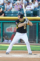 J.B. Shuck (3) of the Salt Lake Bees at bat against the Sacramento River Cats at Smith's Ballpark on June 6, 2014 in Salt Lake City, Utah.  (Stephen Smith/Four Seam Images)