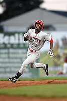 Auburn Doubledays outfielder Dale Carey (8) running the bases on an inside the park home run during a game against the Batavia Muckdogs on August 27, 2014 at Dwyer Stadium in Batavia, New York.  Auburn defeated Batavia 6-4.  (Mike Janes/Four Seam Images)