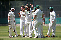Shahbaz Khan of Harold Wood celebrates taking the wicket of Bilal Patel during Wanstead and Snaresbrook CC vs Harold Wood CC, Hamro Foundation Essex League Cricket at Overton Drive on 17th July 2021