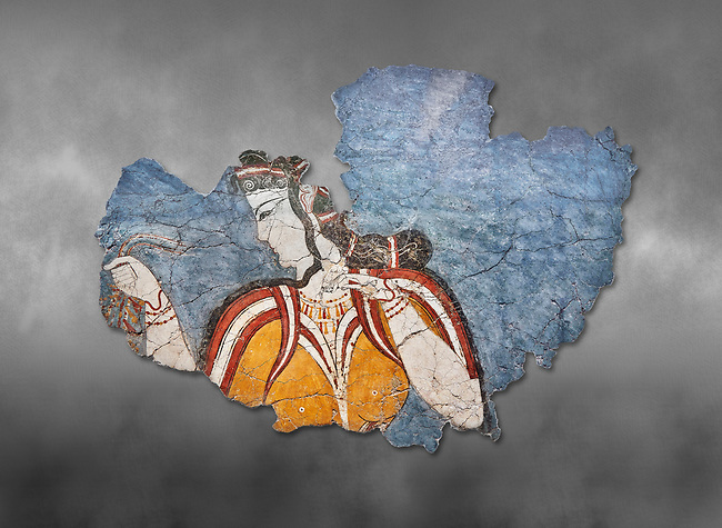The 'Mycenaean Lady' fresco wall painting depicting a women in a procession, Mycenae, Greece Cat No 11670. National Archaeological Museum, Athens. Grey art Background <br /> <br /> The 'Mycenaean Lady' fresco depicts a women with a serious and pensive expression of a goddess in a solemn moment during which she accepts a gift of a necklace which she hold tightly in her right hand. she wears a short sleeved bodice over a sheer blouse which deliniates her bosom. She has an  intricate hairstyle and wears rich jewellery.