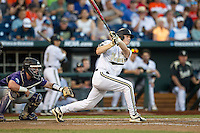 Vanderbilt Commodores third baseman Will Toffey (10) follows through on his swing against the TCU Horned Frogs in Game 12 of the NCAA College World Series on June 19, 2015 at TD Ameritrade Park in Omaha, Nebraska. The Commodores defeated TCU 7-1. (Andrew Woolley/Four Seam Images)