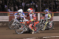 Heat 16: Andreas Jonsson (red), Chris Harris (blue) and Cameron Woodward (white) - Lee Richardson Memorial Speedway Meeting at Arena Essex Raceway, Purfleet - 28/09/12 - MANDATORY CREDIT: Gavin Ellis/TGSPHOTO - Self billing applies where appropriate - 0845 094 6026 - contact@tgsphoto.co.uk - NO UNPAID USE.