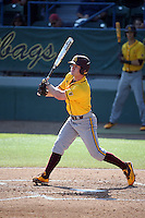 Gage Canning (12) of the Arizona State Sun Devils bats against the Long Beach State Dirtbags at Blair Field on February 27, 2016 in Long Beach, California. Long Beach State defeated Arizona State, 5-2. (Larry Goren/Four Seam Images)