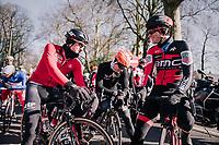 Former teammates Tim Wellens (BEL/Lotto-Soudal), Pim Ligthart (NED/Roompot-Nederlandse Loterij) & Jurgen Roelandts (BEL/BMC) catching up at the race start in Gent<br /> <br /> Omloop Het Nieuwsblad 2018<br /> Gent › Meerbeke: 196km (BELGIUM)