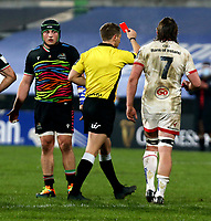 19th March 2021;   Referee Andrew Brace shows the red card to Marco Manfredi during the final round of the Guinness PRO14 against Zebre Rugby held at Kingspan Stadium, Ravenhill Park, Belfast, Northern Ireland. Photo by John Dickson/Dicksondigital