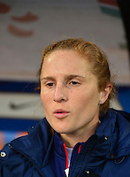 Lorient, France. - Sunday, February 8, 2015: Rachel Van Hollebeke (19) of the USWNT. France defeated the USWNT 2-0 during an international friendly at the Stade du Moustoir.