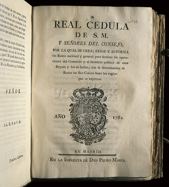 Spain (1770). Royal Issue creating the Bank of San Carlos, after proposal of Francisco Cabarrús. Publiseh in Madrid by Pedro M