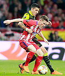 Atletico de Madrid's Kevin Gameiro (r) and Sporting Clube de Portugal's Rodrigo Battaglia during Europa League Quarter-finals, 1st leg. April 5,2018. (ALTERPHOTOS/Acero)