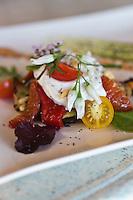 Europe/France/2B/Haute Corse/Pigna: Millefeuille de légumes et crème de brocciu, recette d' Olympe Ricco, chef du restaurant:  U Palazzu